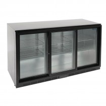 Polar Back Bar Cooler with Sliding Doors in Black 320Ltr